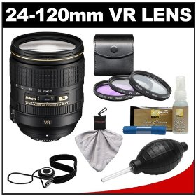 Nikon 24-120mm f/4 G VR AF-S ED Zoom-Nikkor Lens with 3-Piece Filter Set + Cleaning Accessory Kit for D3s, D3x, D3, D7000, D300s, D90, D5000, D3100, D3000 Digital SLR Cameras