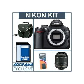 Nikon D5000 Digital SLR Camera Kit / Nikon 18mm - 55mm f/3.5-5.6G AF-S DX (VR) Lens - Refurbished by Nikon U.S.A. - with 4GB SD Memory Card, Spare EN-EL9 Lithium-Ion Rechargeable Battery, Camera System Bag