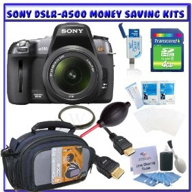 Sony Alpha DSLRA500L 12.3MP Digital SLR Camera w/ Sony 18-55mm f/3.5-5.6 SAM DT Lens + Willoughbys 4GB SD SDHC Starter Pack