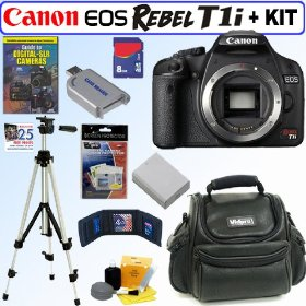 Canon EOS Rebel T1i 15.1 MP CMOS Digital SLR Camera (Body) + 8GB Deluxe Accessory Kit