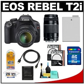 Canon EOS Rebel T2i Digital SLR Camera & 18-55mm IS Lens + EF 75-300mm III Zoom Lens + 16GB Card + Battery + UV Filters + Accessory Kit