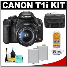 Canon EOS Rebel T1i 15.1MP Digital SLR Camera (Black) with Canon EF-S 18-55mm IS Lens + (2) LP-E5 Battery Packs + Case + Accessory Kit