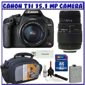 Canon Rebel T1i 15.1 MP Digital SLR w/ Canon 18-55mm IS Lens & Sigma 70-300mm f/4-5.6 DG Lens + 8GB + Advanced Shooter Package K# 3