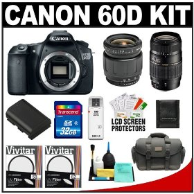 Canon EOS 60D Digital SLR Camera Body with Tamron 28-80mm & 70-300mm Lens + 32GB Card + Battery + Case + Accessory Kit