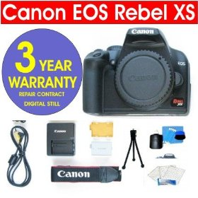 Canon EOS Rebel XS 1000D Black SLR 10.1 MP Digital Camera Body + 6 Piece Digital Camera Accessory Kit + 3 Year Extended Warranty Repair Contract
