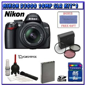 Nikon D3000 10MP Digital SLR Camera w/ 18-55mm AF-S DX VR Nikkor Zoom Lens + Willoughby's 8GB SDHC Class 6 Travelers Bonus Pack #1