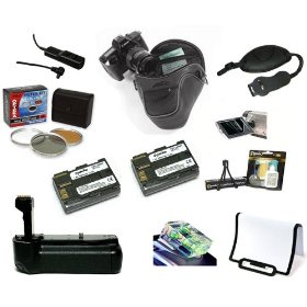 Opteka Pro Shooter Accessory Kit with Battery Grip, Extra Batteries, Filters, Remote, Case, & More for the Canon EOS 20D, 30D, 40D, & 50D Digital SLR Cameras