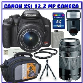 Canon EOS Rebel XSi (a.k.a. 450D) Digital SLR Camera w/ 18-55mm IS Lens & Canon EF 75-300mm f/4-5.6 III Lens + Canon 430EX Flash + 8GB + UV Filter + Spare Battery + Deluxe Accessory K#6