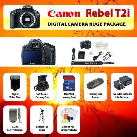 Canon EOS Rebel T2i (550D) Digital SLR Camera Body + 2 Extended Life Batteries + Battery Charger + 16 GB Memory Card + Card Reader + Tripod + Carrying Case + Starter Kit + Digital Flash and more!!