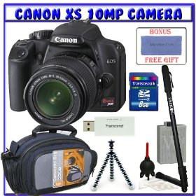 Canon EOS Rebel XS (a.k.a. 1000D) SLR Digital Camera w/ 18-55mm IS Lens + Transcend 8GB Memory Cards + Spare Rechargeable Lithium-Ion Battery + Pro Series Tripod + Shooters Package
