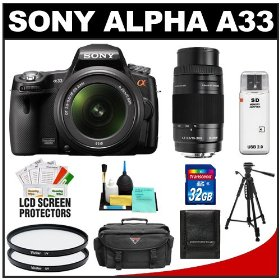 Sony Alpha A33 SLTA33L 14.2 MP Translucent Mirror Technology Digital SLR Camera with 18-55mm & 75-300mm Lenses + 32GB Card + Case + UV Filters + Tripod + Accessory Kit