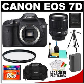 Canon EOS 7D 18.0 MP Digital SLR Camera Body (Outfit Box) & EF-S 15-85mm IS USM Lens with 16GB Card + Battery + Case + Tripod + UV Filter + Cleaning Accessory Kit