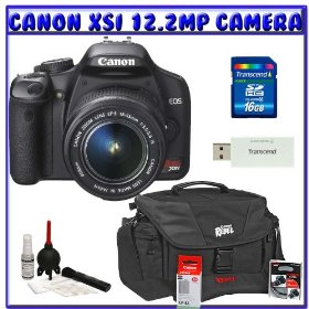 Canon EOS Rebel XSi (a.k.a. 450D) SLR Digital Camera w/ 18-55mm IS Lens + Canon Gadget Bag + Spare Canon LP-E5 Battery + UV Filter + 16GB + Willoughbys Clean & Protect K#4