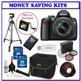 Nikon D5000 12.3 MP DX Digital SLR w/ 18-55mm f/3.5-5.6G VR Lens + .48x Wide Angle Panoramic HD Series Fisheye w/ Macro + Extra Nikon Lithium-Ion Battery + Two (2) 16GB + Digital SLR Gadget Bag + 3PC Filter Kit + Bonus Accessories Kit