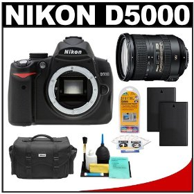 Nikon D5000 Digital SLR Camera Body with Nikon 18-200mm VR II DX AF-S Zoom Lens + Two (2) Spare EN-EL9 Batteries + Case + LCD Protectors + Cleaning Kit