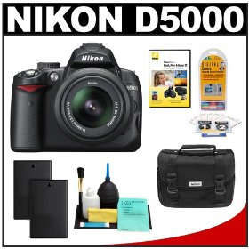 Nikon D5000 Digital SLR Camera w/ 18-55mm VR Lens + Two (2) Spare EN-EL9 Batteries + Case + LCD Protectors + Cleaning Kit