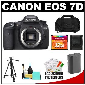 Canon EOS 7D 18.0 MP Digital SLR Camera Body (Outfit Box) with 32GB Card + Battery + Case + Tripod + Cleaning Accessory Kit