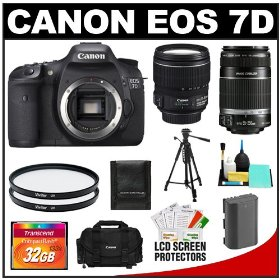 Canon EOS 7D 18.0 MP Digital SLR Camera Body (Outfit Box) & EF-S 15-85mm IS USM and EF-S 55-250mm IS Lenses with 32GB Card + Battery + Case + Tripod + UV Filters + Cleaning Accessory Kit