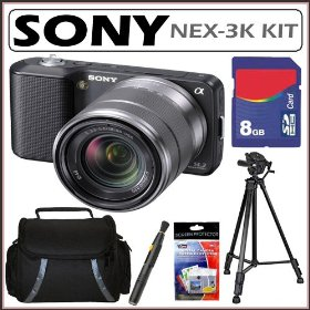 Sony Alpha NEX-3K 14.2MP Compact Interchangeable Lens HD Digital Camera with 18-55mm Lens in Black + 8GB Accessory Kit