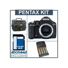 Pentax K-x Digital SLR Camera Body Kit - Black - with 4GB SD Memory Card, 4 AA Nickel Metal Hydride (NiMH) 2900 mAH Rechargeable Batteries with 4-Hour AA & AAA Quick Charger, 110/220 volt. Camera Bag,