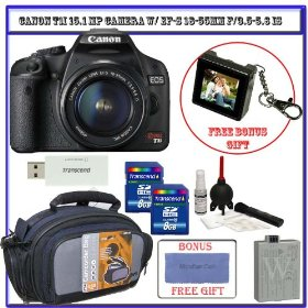 Canon EOS Rebel T1i 15.1 MP CMOS Digital SLR Camera w/ EF-S 18-55mm f/3.5-5.6 IS Lens (Black) + Two (2) 8GB Card + Spare LP-E5 Battery + Pro Case + Willoughby's Accessory Package