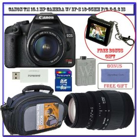 Canon EOS Rebel T1i 15.1 MP Digital SLR w/ EF-S 18-55mm & Sigma 70-300mm Lens + 8GB Card + Spare LP-E5 Battery + Pro Case + Accessory Package