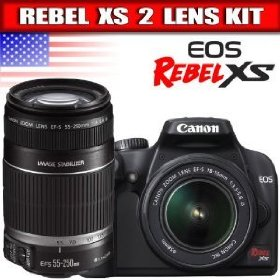 Canon Rebel XS 10.1MP Digital SLR Camera with EF-S 18-55mm f/3.5-5.6 IS Lens + Canon EF-S 55-250mm f/4.0-5.6 IS Telephoto Zoom Lens for Canon Digital SLR Cameras
