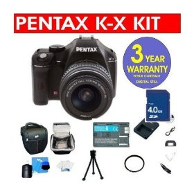 Pentax K-X 12.4 MP Digital SLR Camera with 18-55mm Lens + High Capacity Li-Ion Battery + 4 GB Memory Card + 6 Piece Accessory Kit + Camera Holster Case + Multi-Coated Glass UV Filter + Multi-Coated Glass Polarizer Filter + 3 Year Warranty Repair Contract