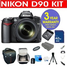 Nikon D90 12.3 MP Digital SLR Camera with 18-55mm f/3.5-5.6G VR Lens + 4 GB Memory Card + 6 Piece Accessory Kit + Camera Holster Case + Multi-Coated Glass UV Filter + 3 Year Warranty Repair Contract