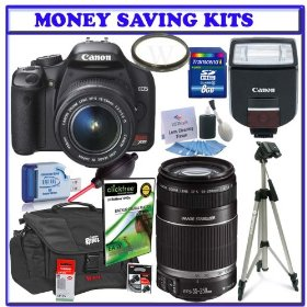 Canon EOS Rebel XSi (a.k.a. 450D) Digital SLR (Black) with 18-55mm IS Lens & Canon 55-250mm IS Lens + Canon 270EX Flash + Canon Case + UV Filter + Canon Li-ion Battery + 8GB + Deluxe Accessory Kit