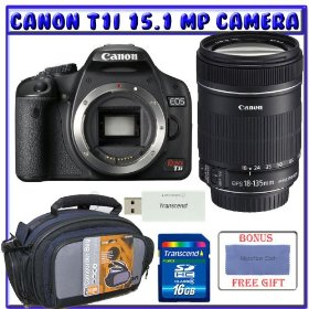Canon EOS Rebel T1i Digital SLR (Body OutFit) w/ EF-S 18-135mm f/3.5-5.6 IS Lens + 16GB Memory Card + Advanced Shooters Package Package # 1
