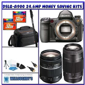 Sony Alpha DSLR-A900 24.6MP SLR (Camera Body) + Sony 28-75mm f/2.8 Smooth Autofocus Motor (SAM) Lens + 75-300mm f/4.5-5.6 AF D Autofocus Lens + Two (2) Transcend 32GB CF + Sony Case + Professional Photographer Shooters Package
