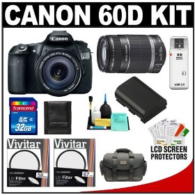 Canon EOS 60D Digital SLR Camera Body with 18-135mm IS Lens & 55-250mm IS Lens + 32GB Card + Case + Accessory Kit