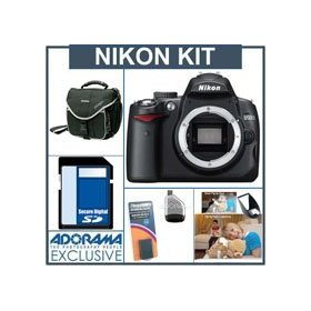 Nikon D5000 DX-Format Digital SLR Camera Body - Refurbished - by Nikon U.S.A. with 8GB SD Memory Card, Spare EN-EL9 Lithium-Ion Rechargeable Battery, Camera System Bag, USB 2.0 SD Card Reader, Professor Kobre's Lightscoop
