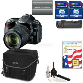 Nikon D90 Digital SLR Camera with 18-105mm AF-S DX VR Nikkor Lens [Outfit] + Nikon MB-D80 Grip + 8GB Willoughbys Bonus Kit