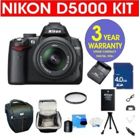 Nikon D5000 12.3 MP DX Digital SLR Camera with 18-55mm f/3.5-5.6G VR Lens and 2.7-inch Vari-angle LCD + 4 GB Memory Card + 6 Piece Accessory Kit + Camera Holster Case + Multi-Coated Glass UV Filter + 3 Year Warranty Repair Contract