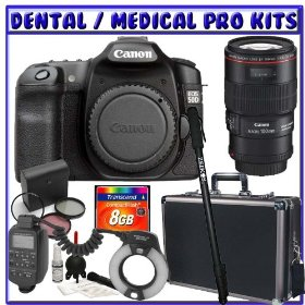 Canon EOS 50D 15.1 Megapixel Digital Camera SLR + Canon EF 100mm f/2.8L IS USM 1-to-1 Macro Lens + Canon MR-14EX Macro Ring Lite + 8GB SDHC + Monopod + Willoughby's Dental/Medical Accessory Package