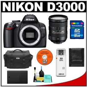 Nikon D3000 Digital SLR Camera Body (Outfit Box) with Nikon 18-200mm VR II DX Lens + 16GB Card + EN-EL9a Battery + Case + Accessory Kit