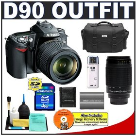 Nikon D90 Digital SLR Camera with 18-105mm AF-S DX VR Nikkor Lens [Outfit] + Nikon 70-300mm Lens + 4GB Card + EN-EL3e Battery + Case + Cameta Bonus Accessory Kit