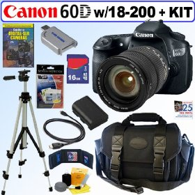 Canon EOS 60D 18 MP CMOS Digital SLR Camera with Sigma AF 18-200mm f/3.5-6.3 DC OS (Optical Stabilizer) Zoom Lens + 16GB Deluxe Accessory Kit