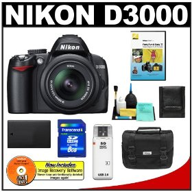 Nikon D3000 10MP Digital SLR Camera & 18-55mm f/3.5-5.6G AF-S DX VR Nikkor Zoom Lens with 8GB Card + EN-EL9a Battery + Nikon Gadget Bag + Accessory Kit
