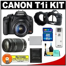Canon EOS Rebel T1i 15.1MP Digital SLR Camera (Black) w/ EF-S 18-55mm IS & EF 55-250mm IS Zoom Lens with 16GB SD Card + LP-E5 + Camera Armor + Accessory Kit