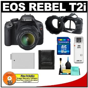 Canon EOS Rebel T2i 18.0MP Digital SLR Camera & EF-S 18-55mm IS Lens with 16GB Card + Battery + Camera Armor Case + Accessory Kit