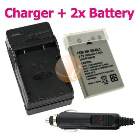 2 Nikon EN-EL5 / ENEL5 / CP1 Replacement Battery + Battery Charger Combo Pack FOR Nikon CoolPix 3700 / 4200 / 5200 / 5900 / 7900 / P100 / P3 / P4 / P5000 / P5100 / P6000 / P80 / P90 / S10 Digital SLR Camera