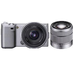Sony DSLR NEX5ASK1 NEX-5A 14.2MP Digital Camera; 16mm 2.8 & 18-55 Lenses Silver
