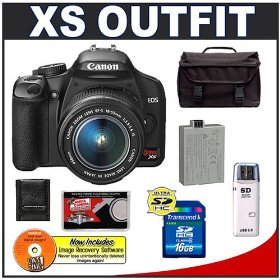 Canon Digital Rebel XS 10.1MP Digital SLR Camera (Black) + Canon EF-S 18-55mm IS Lens + Spare LP-E5 Battery + 16GB Card + Gadget Bag