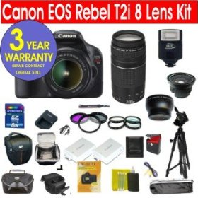 Canon EOS T2i 18 MP Digital SLR Camera with 8 Lens Deluxe Camera Outfit