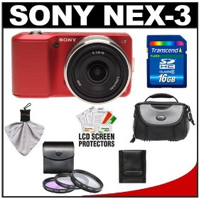 Sony Alpha NEX-3 Digital Camera Body & E 16mm f/2.8 Compact Interchangeable Lens (Red) with 16GB Card + Battery + Case + Accessory Kit