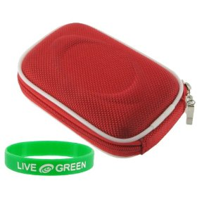 Nylon Hard Shell Carrying Case (Red) for Nikon Coolpix S8000 S8100 14 MP Digital Camera Silver