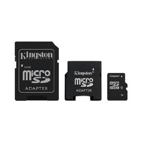 Kingston 16 GB Class 4 MicroSD Flash Card with 2 Adapters (Mini and SD) SDC4/16GB-2ADP